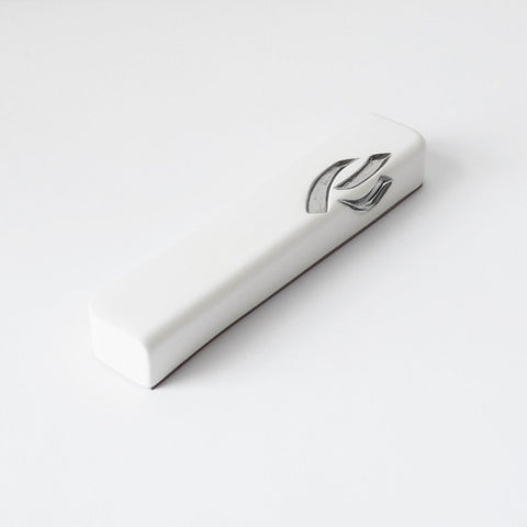 Creamy White Ceramic Mezuzah Case with Silver - Peace Love Light Shop