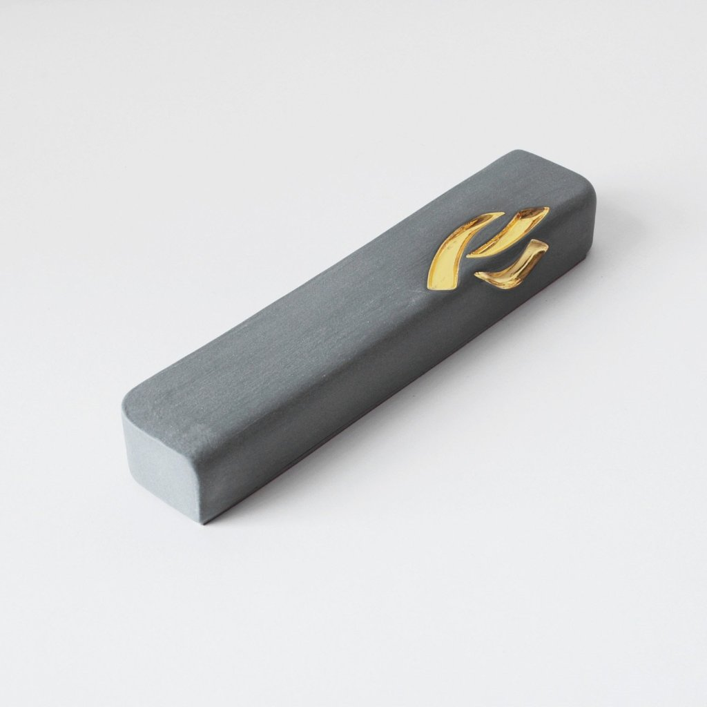 Dark Grey Ceramic Mezuzah Case with 24K Gold - Peace Love Light Shop