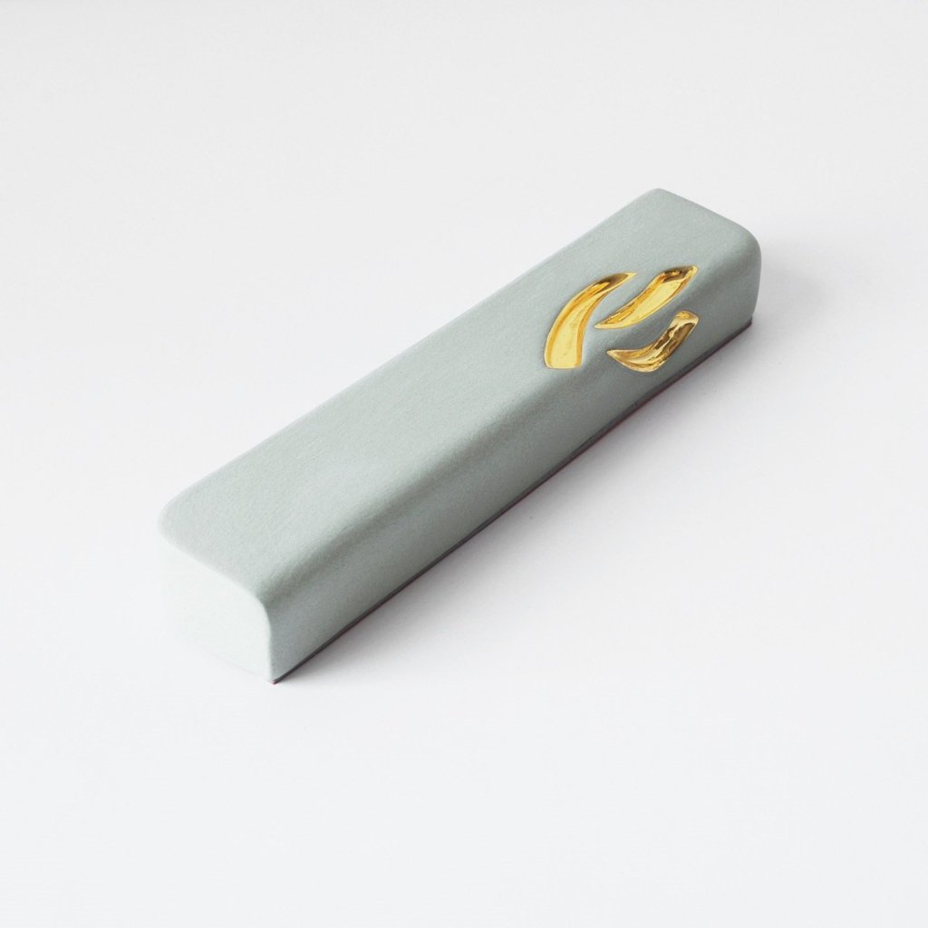 Light Turquoise Ceramic Mezuzah Case with 24K Gold - Peace Love Light Shop