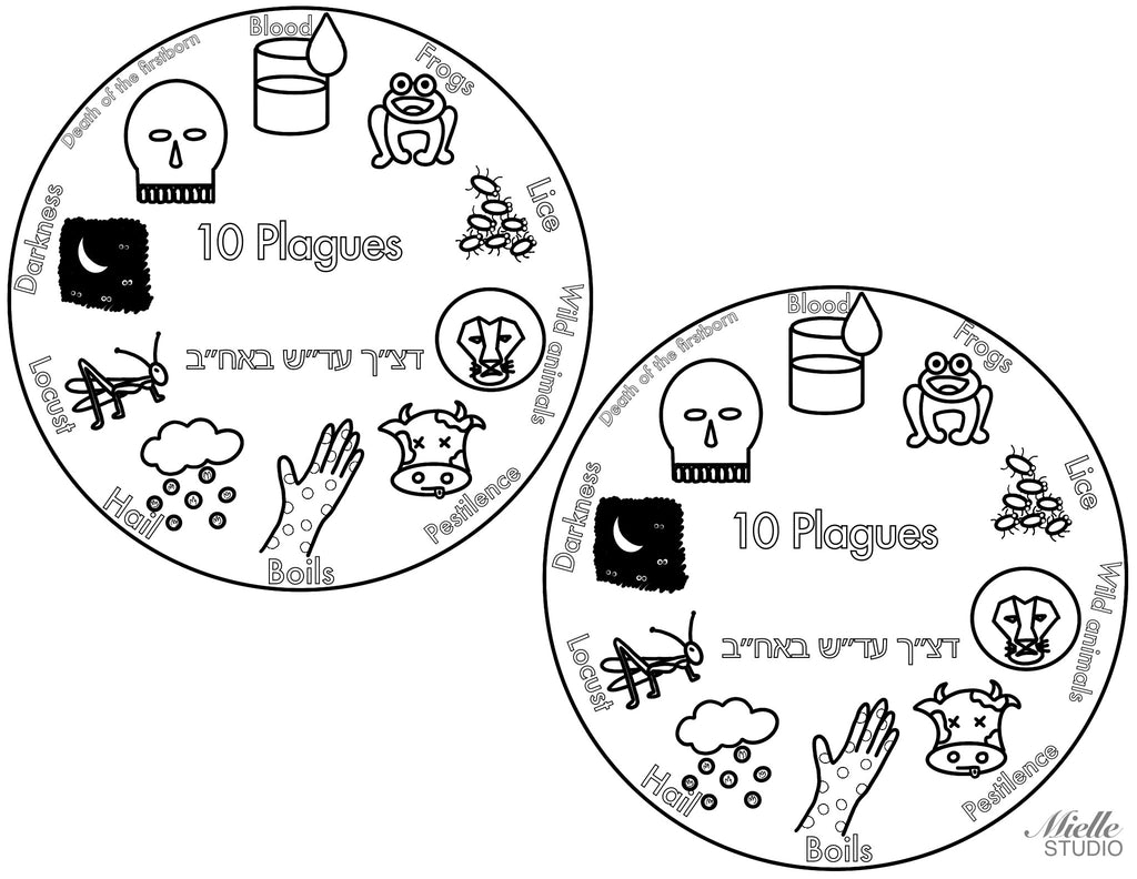 Ten Plagues Coaster - Digital Download, Passover decoration, craft - Peace Love Light Shop