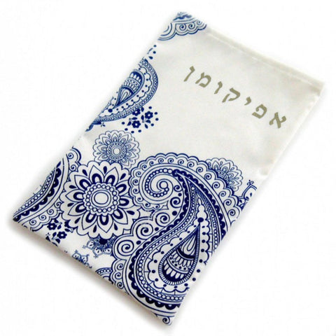 Passover Afikoman Bag- Blue Paisley - Peace Love Light Shop