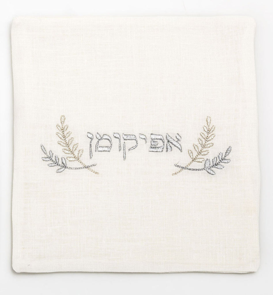Passover Afikoman Bag - Ivory Linen, Silver Embroidered - Peace Love Light Shop