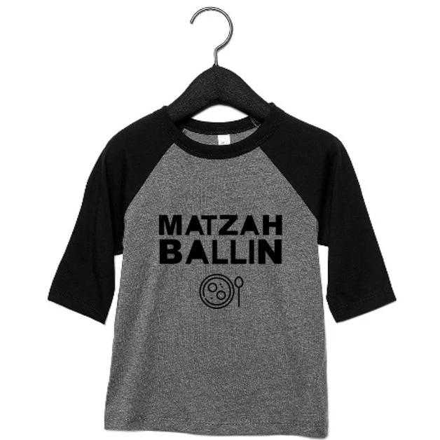 Passover 'Matzah Ballin' Toddler, Kids 3/4 Sleeve Raglan Shirt - Peace Love Light Shop
