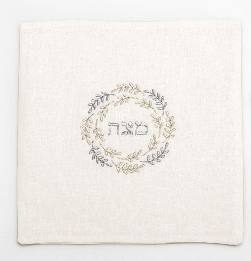 Matzah Cover- Silver Embroidered - Peace Love Light Shop