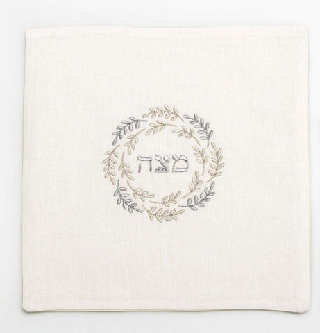 Passover Matzah Cover- Ivory Linen, Silver Embroidered - Peace Love Light Shop