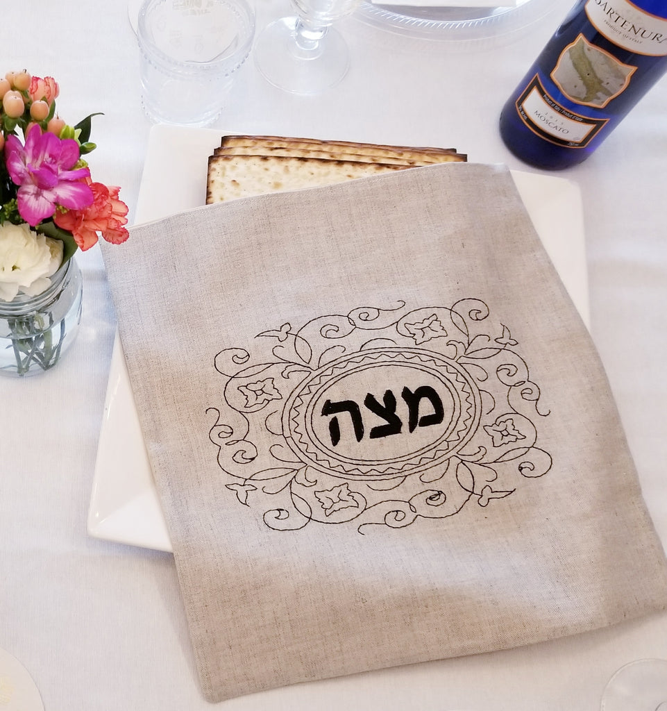 Passover Matzah Cover- Natural Linen, Black Embroidered - Peace Love Light Shop