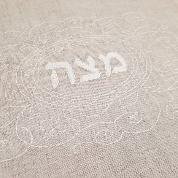 Matzah Cover- Natural Linen, Ivory Embroidered - Peace Love Light Shop