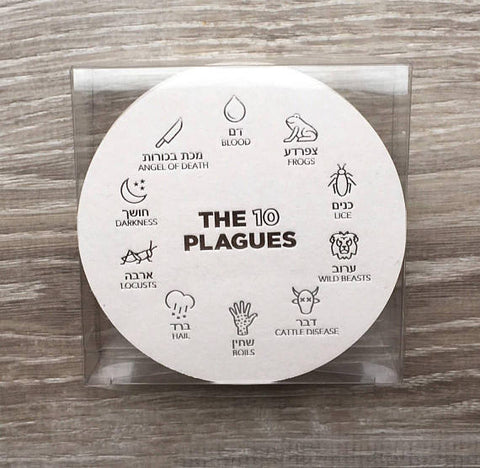 Ten Plagues Coasters for Dipping, Passover Decorations- Silver Foil - Peace Love Light Shop