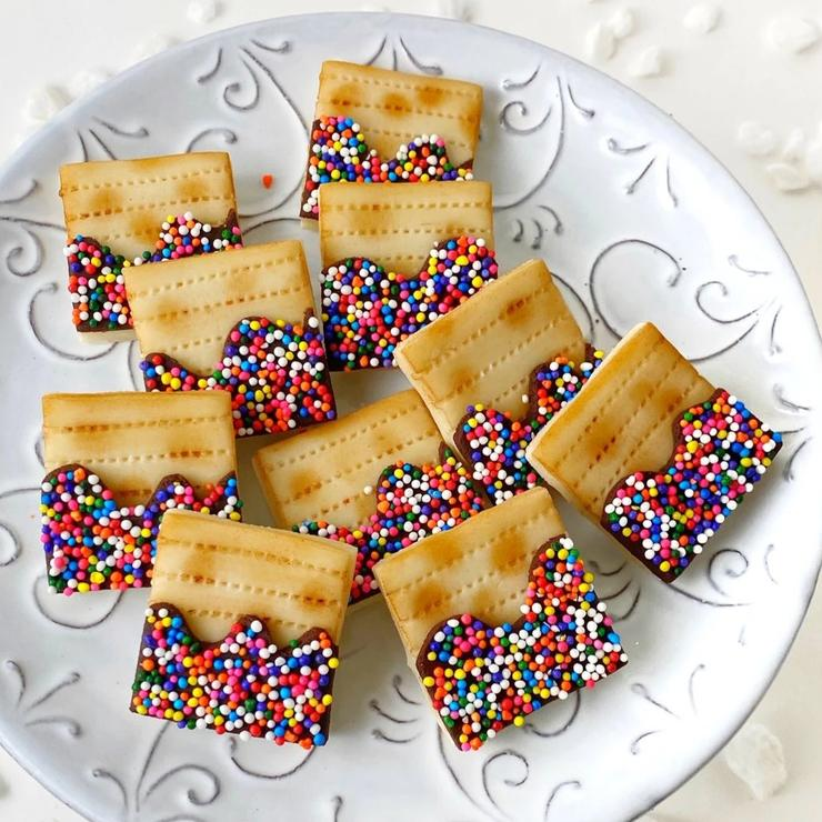 Passover Marzipan Rainbow Sprinkle Matzah Tiles, Hostess Gift - Peace Love Light Shop