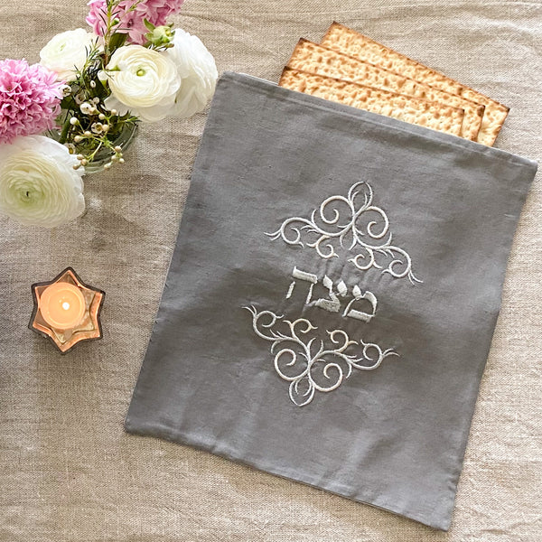 Matzah Cover- Pewter Linen, Silver Embroidered - Peace Love Light Shop