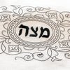 Passover Matzah Cover- Ivory Linen, Black Embroidered