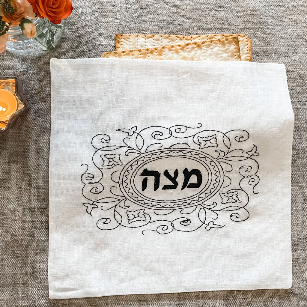 Passover Matzah Cover- Ivory Linen, Black Embroidered - Peace Love Light Shop