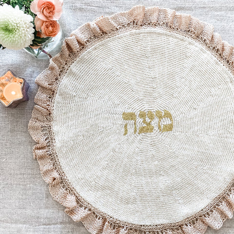 Passover lace round matzoh cover, cotton silk- Peace Love Light Shop
