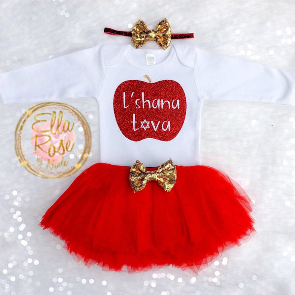 Rosh Hashanah Baby Girl Outfit- Red - Peace Love Light Shop