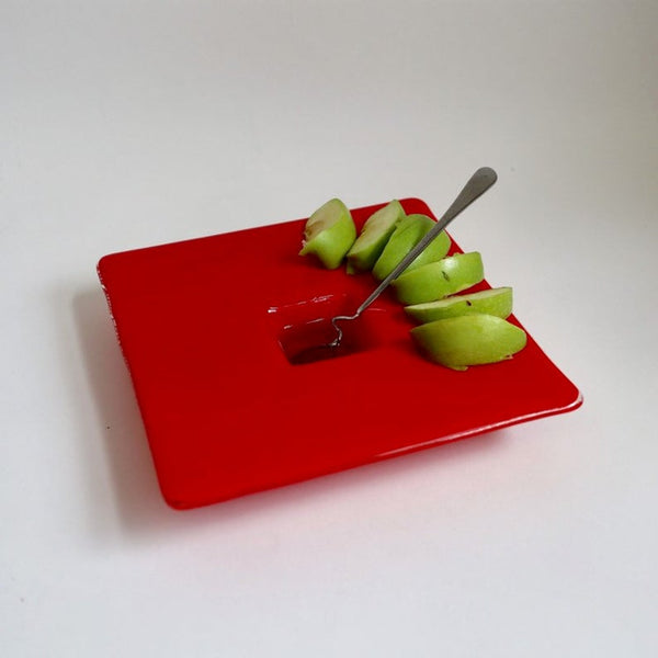 Rosh Hashanah Handcrafted Red Glass Apple and Honey Dish - Peace Love Light Shop