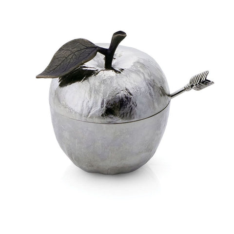 Rosh Hashanah Apple Pot w/Spoon- Perfect to fill with honey for your Rosh Hashanah table- Peace Love Light Shop