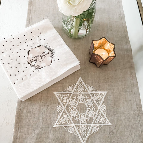 Embroidered Jewish Star Linen Runner- Natural, Passover Decoration - Peace Love Light Shop