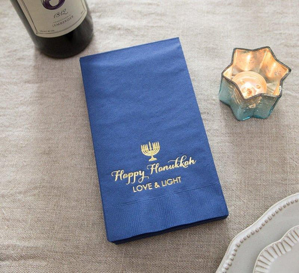 BLUE HANUKKAH 3 PLY DINNER NAPKINS - 20 PACK, Hanukkah Table Decor - Peace Love Light Shop