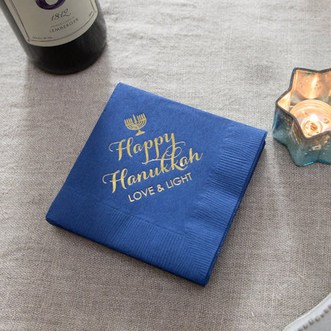 BLUE HANUKKAH 3 PLY COCKTAIL NAPKINS, 20 PACK, Hanukkah Table Decor - Peace Love Light Shop