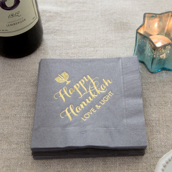 GREY HANUKKAH 3 PLY COCKTAIL NAPKINS - 20 PACK - Peace Love Light Shop