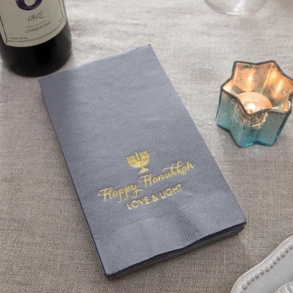 Grey Hanukkah 3 Ply Dinner Napkins - 20 Pack - Peace Love Light Shop