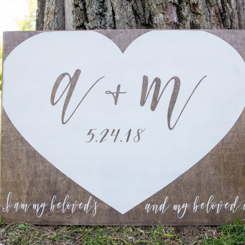 Rustic Wood Wedding Welcome Sign- I Am My Beloved's - Peace Love Light Shop