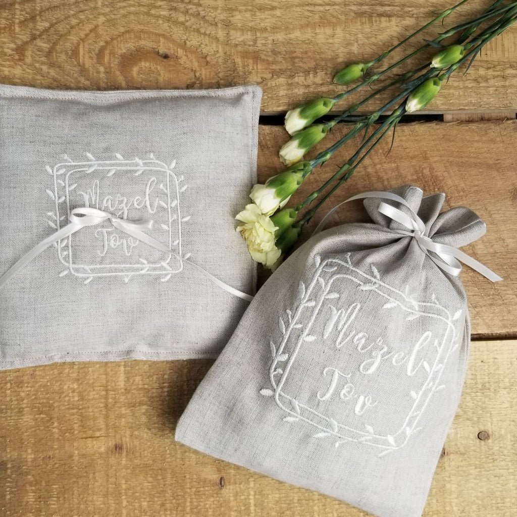 Jewish engagement/bridal shower gift- ring pillow & smash pouch - Peace Love Light Shop