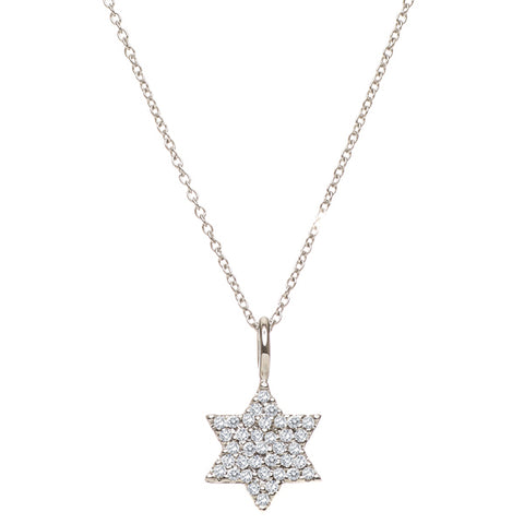 Diamond Star of David Necklace- White, Yellow or Rose 14K Gold - Peace Love Light Shop