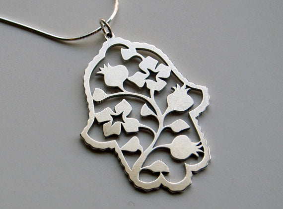 Sterling Silver Pomegranate Hamsa Pendant Necklace - Peace Love Light Shop