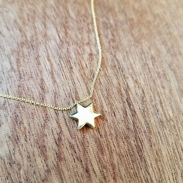 14K Gold Star of David Necklace - Peace Love Light Shop
