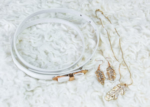 Gold or Silver Feather Necklace & Earring Set with Skinny Belt in 5 colors