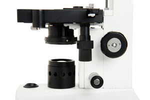 Stage, condenser, and focusing knobs for the Celestron Labs CB2000CF Compound Microscope (SKU: 44131).