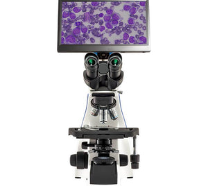 LW Scientific BioVIEW Innovation Biological Microscope (SKU: iNS-T4BV-iPL3) viewed from the front with red blood cells on LCD screen.