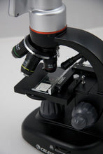 Objectives, stage, and focusing knob for the Celestron Pentaview LCD Digital Microscope (SKU: 44348).