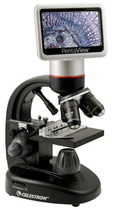Celestron Pentaview LCD Digital Microscope (SKU: 44348) transmitting an image to its LCD screen.