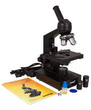 Levenhuk 320 Biological Microscope (SKU: 18273) with accessories and instruction manual.