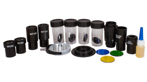 Accessories for the Levenhuk 870T Biological Trinocular Microscope (SKU: 24613): paired wide-field PLAN WF10x and PLAN WF20x eyepieces, digital camera adapters, three color filters, immersion oil, and mirror.