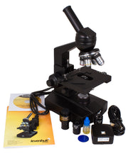 Levenhuk D320L 3.1M Digital Monocular Microscope (SKU: 18347) with accessories, instruction manual, and CD-ROM.