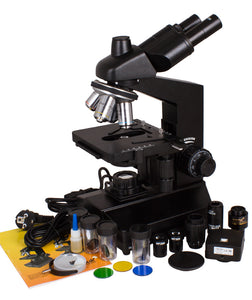 Levenhuk D870T 8M Digital Trinocular Microscope (SKU: 40030) with accessories.