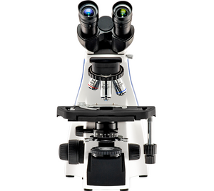 Front view of the LW Scientific Innovation Biological Microscope (SKU: INM-B04A-IPL3).