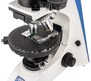 Stage, Objectives, light, and focusing knob for the Front view of the LW Scientific Mi5 Polarizing Microscope for Rheumatology (SKU: M5M-BPOL-iPH3).