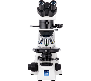 Front view of the Binocular LW Scientific Mi5 Polarizing Microscope for Rheumatology (SKU: M5M-BPOL-iPH3).