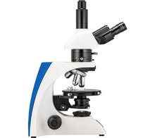 Front view of the LW Scientific Trinocular Mi5 Polarizing Microscope for Rheumatology (SKU: M5M-TPOL-iPH3).