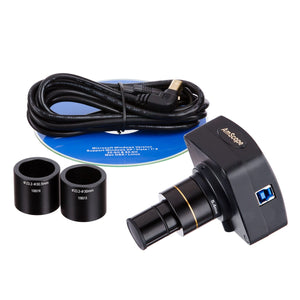 Camera, software CD, USB cord, and eyepieces for AmScope 50X-1250X EPI Infinity Polarizing Microscope.