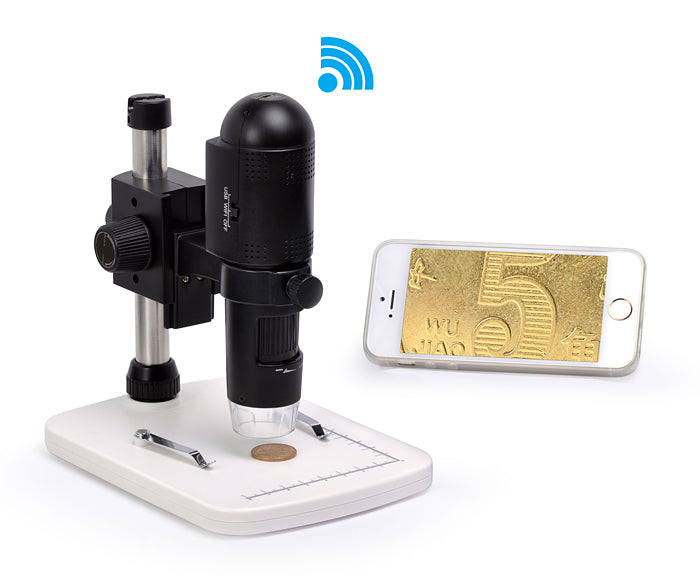 Levenhuk DTX 720 WiFi Digital Microscope (SKU: 67948) transmitting an image of a coin over WiFi to a smart phone (iPhone).