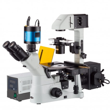 Amscope 40X-1500X Inverted Phase-Contrast + Fluorescence Microscope with 8 Camera Options