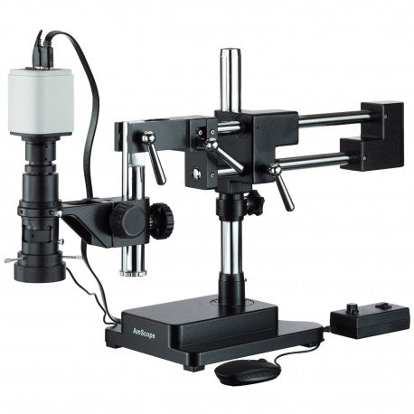 Amscope Industrial Inspection Zoom Monocular Microscope with Double Arm Stand and 1080p HDMI Camera (SKU: H800-DAB-96S-HD1080).