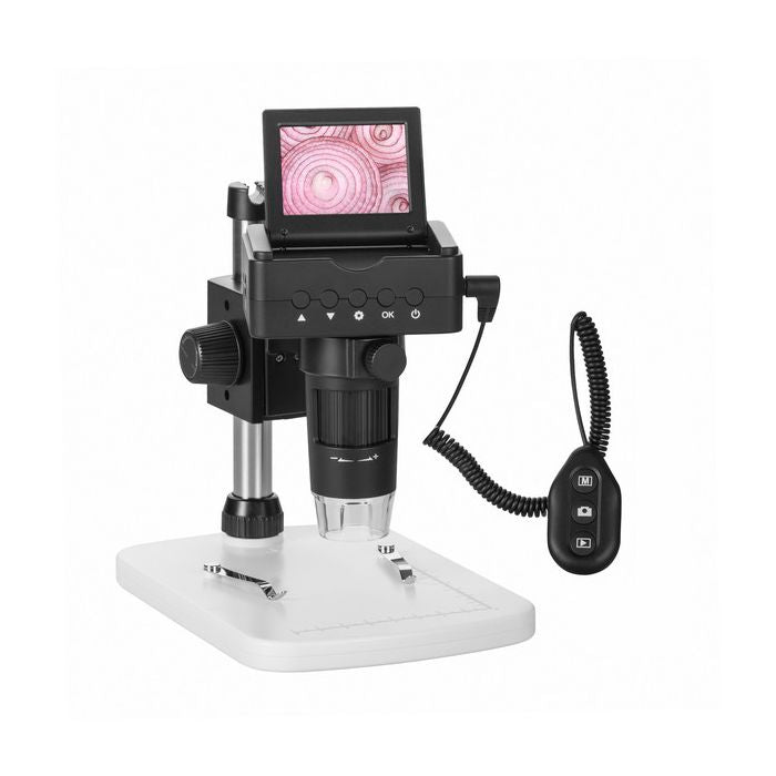 Fully setup Levenhuk DTX TV LCD Digital Microscope with all components.