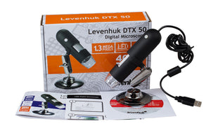 Levenhuk DTX 50 Digital Microscope (SKU: 61021) with its box.
