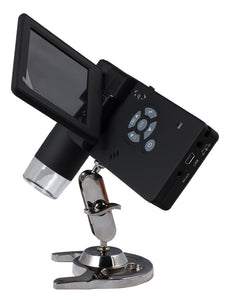 Levenhuk DTX 500 Mobi Digital Microscope (SKU: 61023) opened to show LCD screen and controls.